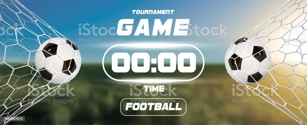 c35a8f73c2ab6 Fútbol o fútbol bandera con 3d y marcador o temporizador de fondo campo  verde. Juego