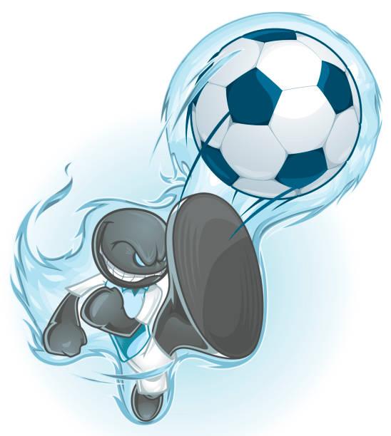 bildbanksillustrationer, clip art samt tecknat material och ikoner med soccer or football character - fotboll eld