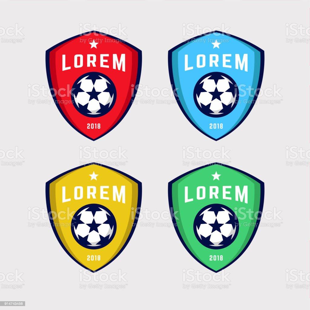 Fußball Oder Football Club Anmelden Abzeichen Satz Stock Vektor Art ...