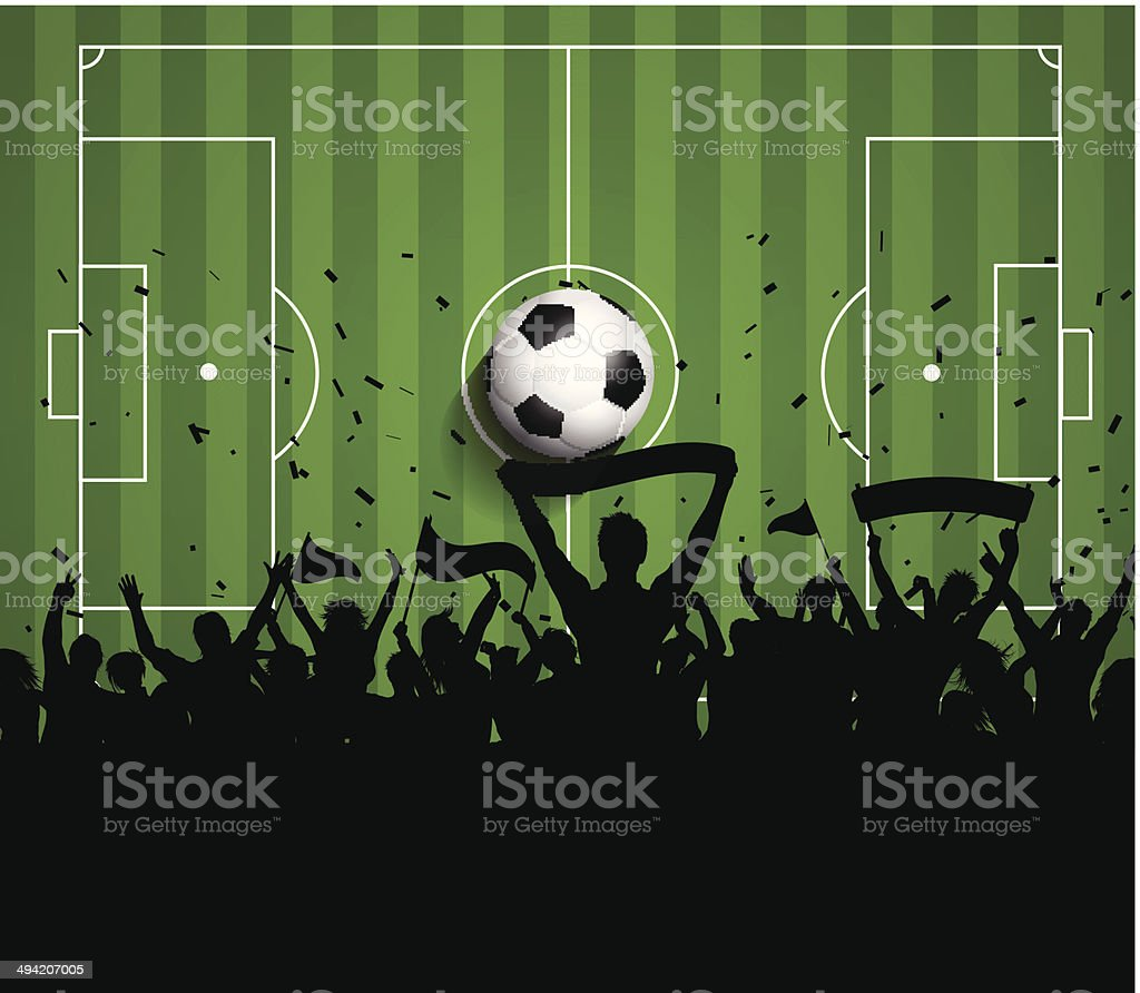Soccer or Football crowd background vector art illustration