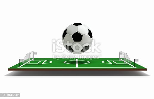 Soccer or Football Field vector 3D with football ball. Green soccer field. Game Vector Stadium.