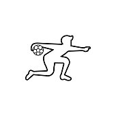 soccer or football icon. vector flat outline silhouette illustration for graphic and web design isolated on white background. sport soccer or football design for symbol, , website, app.