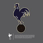 Soccer or football logo design in Rooster year concept. Sport team identity template. Vector Illustration.
