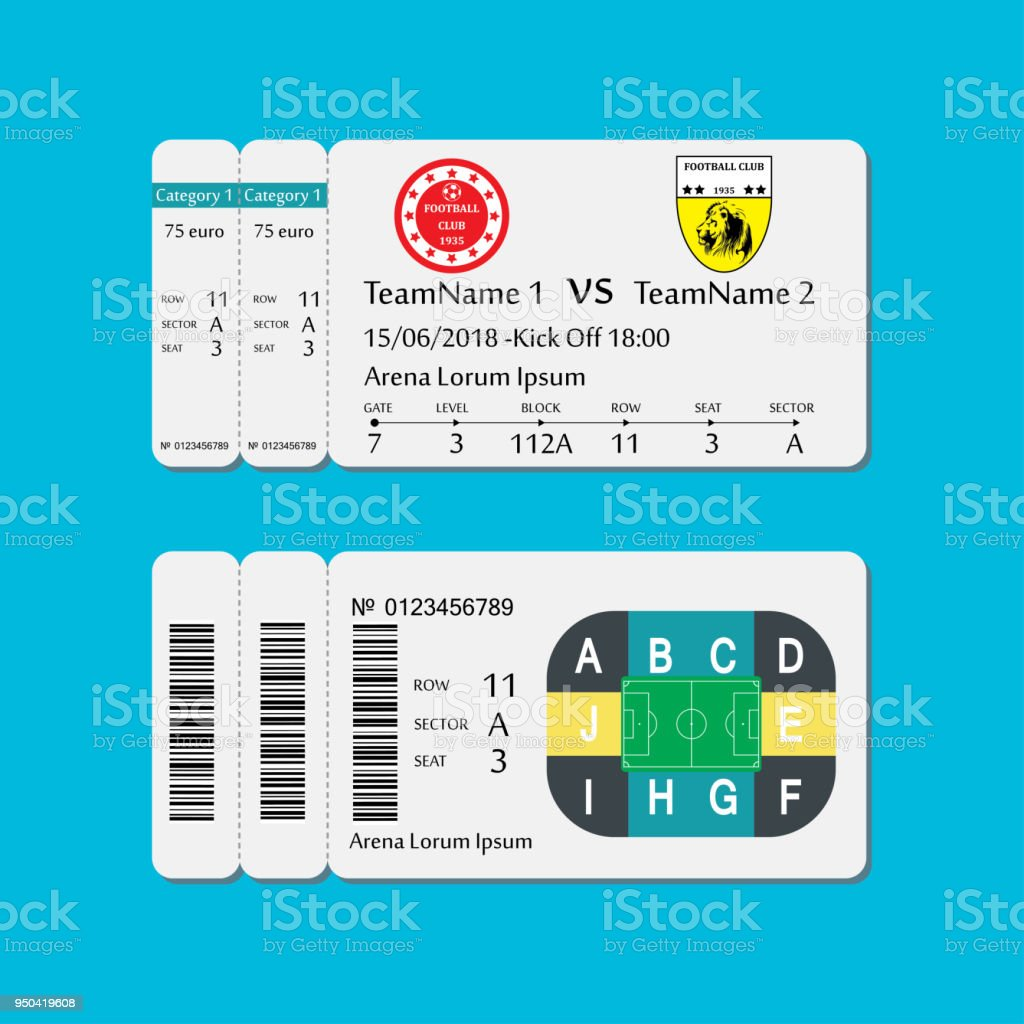 soccer or football ticket template stock vector art more images of