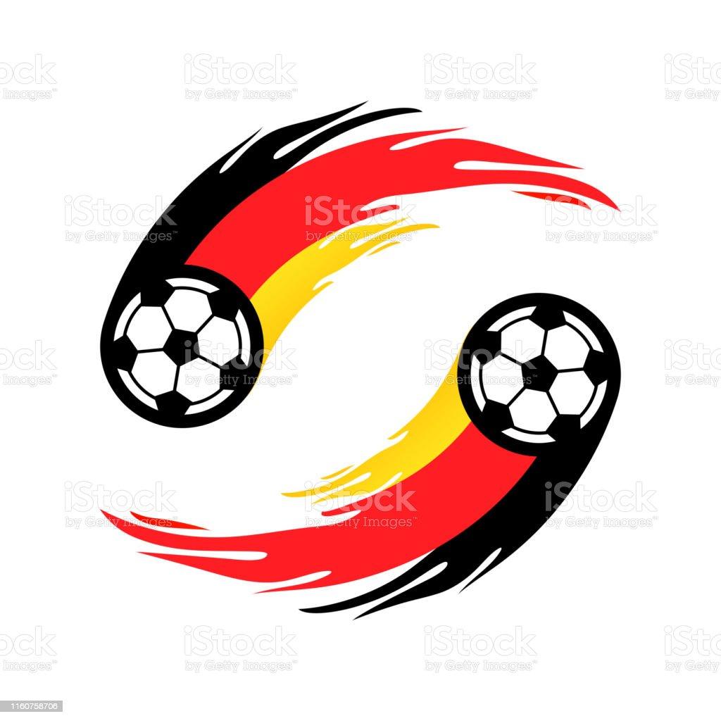 Fussball Oder Fussball Mit Feuerschwanz In Deutschland Flagge