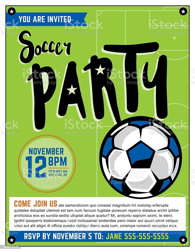 soccer party invitation template illustration stock vector art