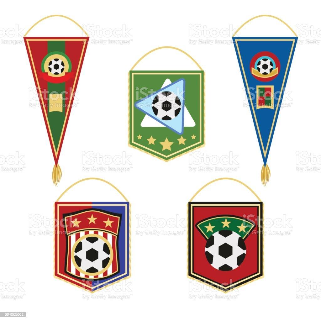 Conjunto de banderines de fútbol. Emblema de la bandera del fútbol. Ilustración de vector de estilo plano aislado sobre fondo blanco, - ilustración de arte vectorial