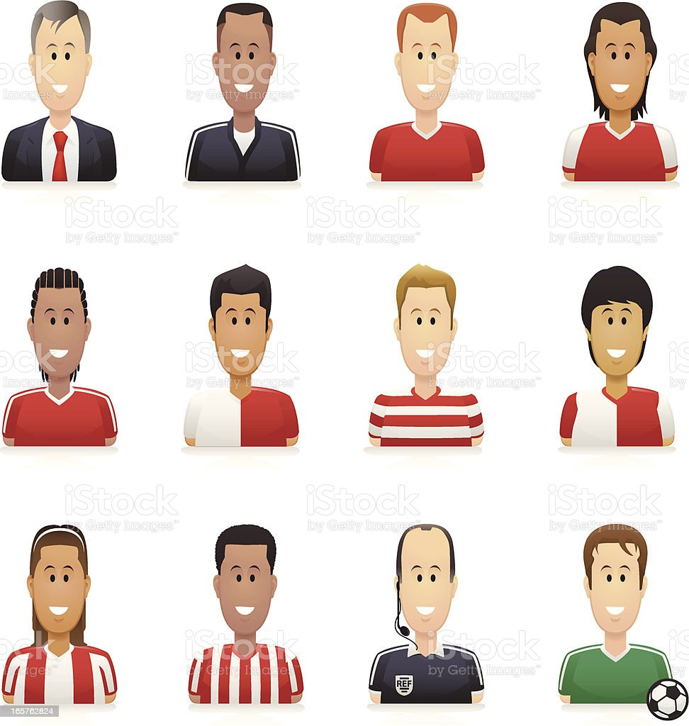 Soccer People Icons vector art illustration