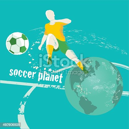 soccer planet background with player