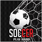 Soccer Play Hard Football In To Net Background Vector Image