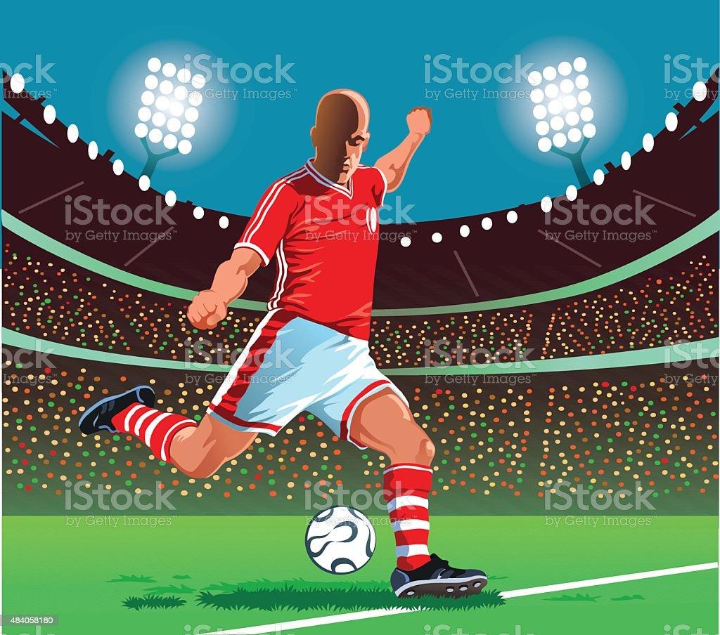 Jogador de futebol chuta a bola sobre a - ilustração de arte em vetor