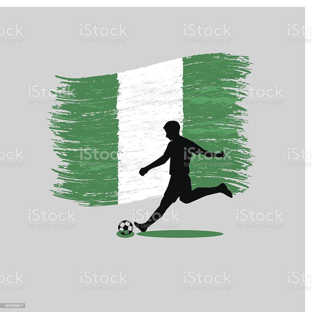 Jugador De Fútbol Con La Bandera De La Acción De Nigeria Sobre Fondo ...