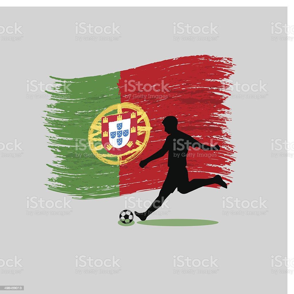 Jogador de futebol com a bandeira da República Portuguesa acção no fundo - ilustração de arte vetorial