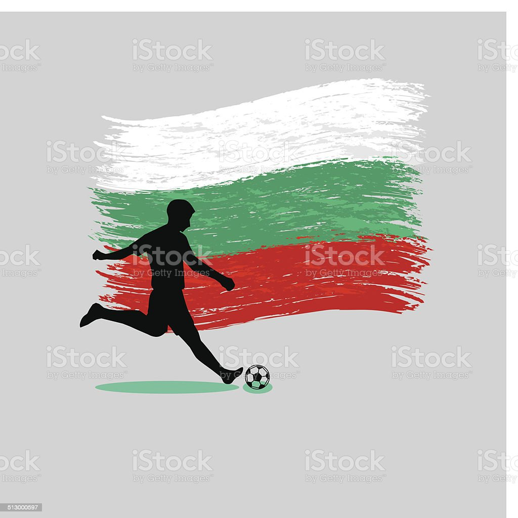 Soccer Player action with Republic of Bulgaria  flag on background vector art illustration
