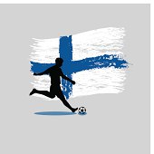 Soccer Player action with Republic of Finland flag on background