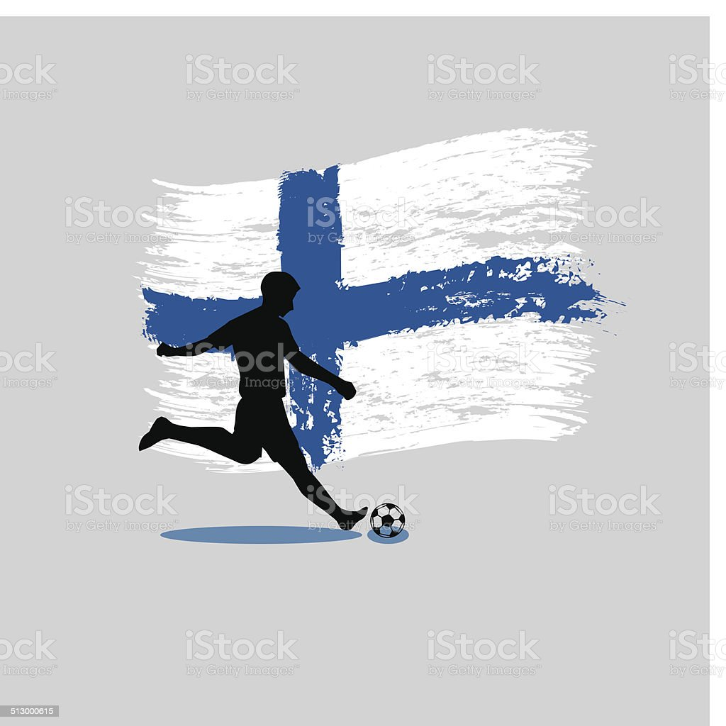 Soccer Player action with Republic of Finland flag on background vector art illustration