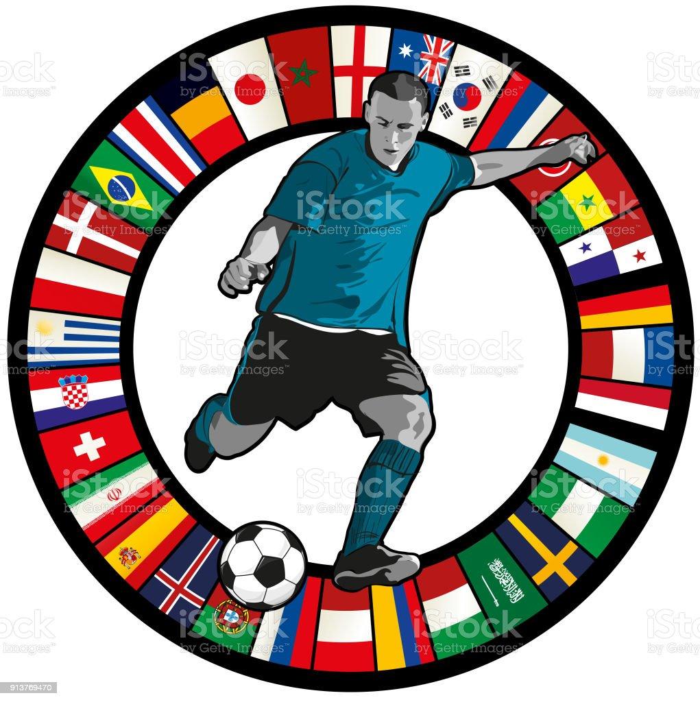 Jugador de fútbol contra un círculo de banderas - ilustración de arte vectorial