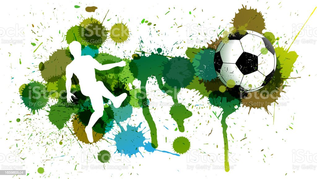 Soccer, player and Splatters royalty-free stock vector art