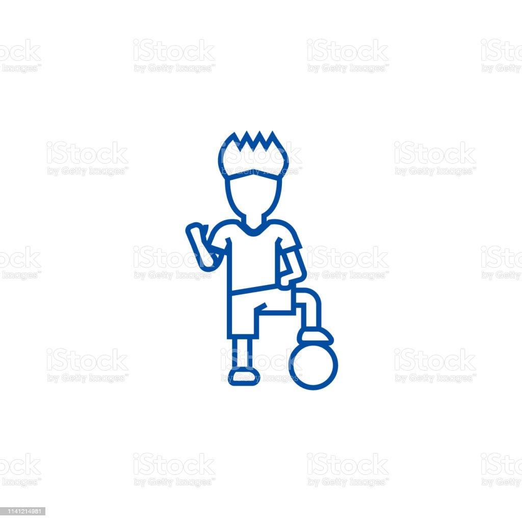 Soccer player boy line concept icon. Soccer player boy flat vector...