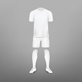 Soccer player clothes kit - realistic mockup set. White T-shirt, shorts, socks and shoes design template with invisible model. Vector illustration.