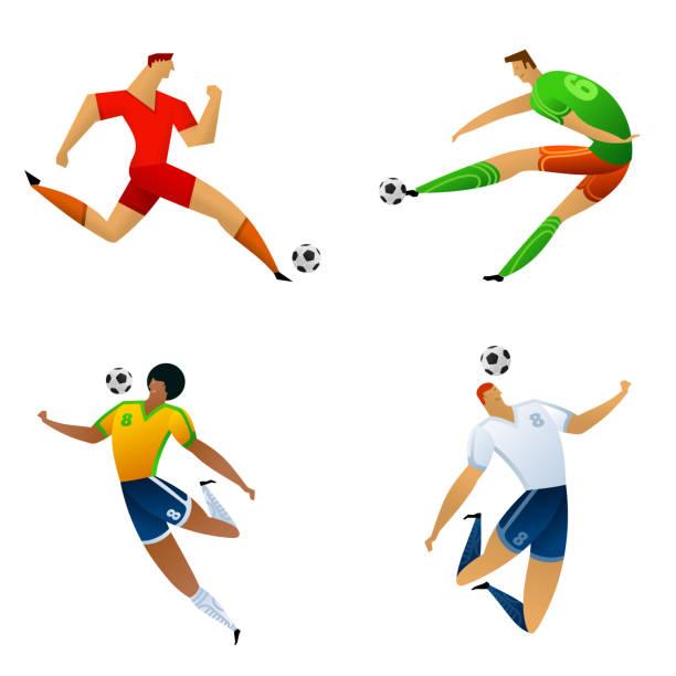 stockillustraties, clipart, cartoons en iconen met voetballer gekleurde set - soccer player