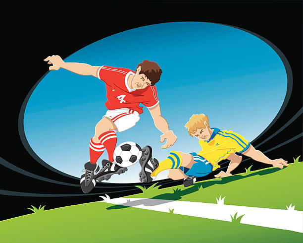 """Soccer Player Duel """"Hand-drawn vector illustration of two soccer players, which are fighting for the ball. The illustration is on separate layers, so you also can use the soccer players on your own background. The colors in the .eps-file are ready for print (CMYK). Included files: EPS (v8) and Hi-Res JPG."""" soccer stock illustrations"""