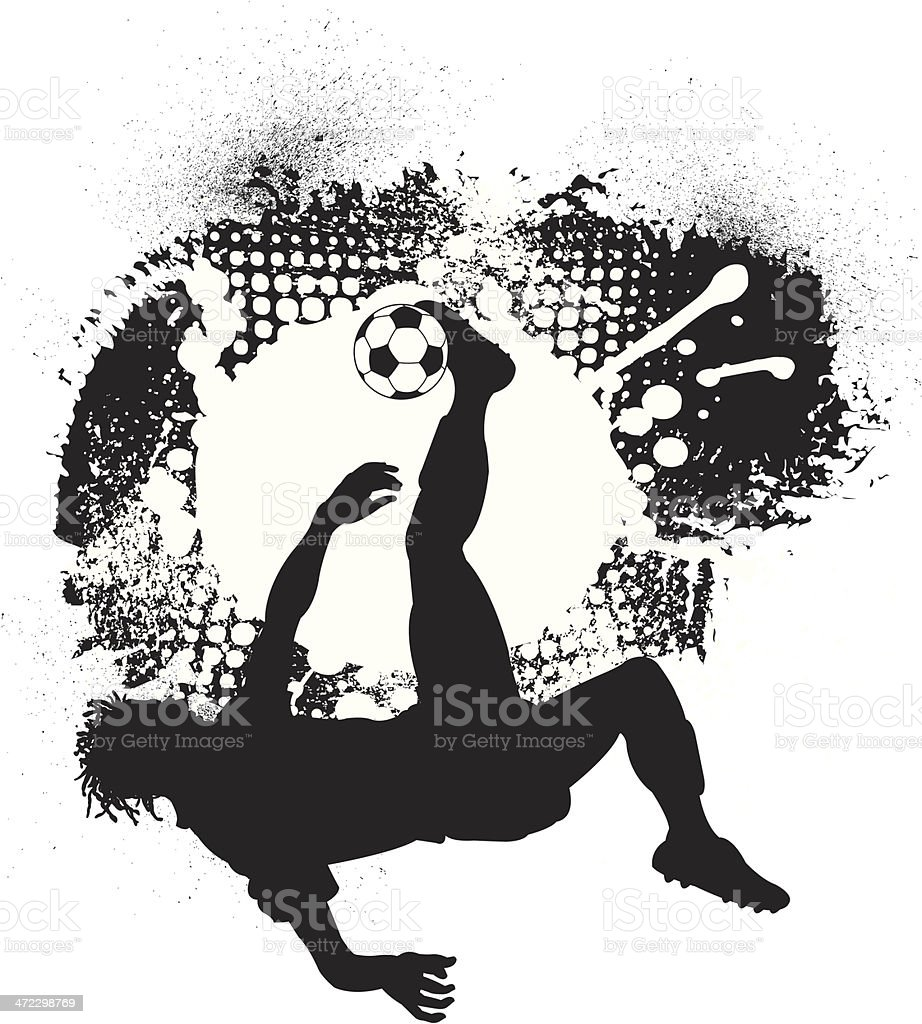 Soccer Player Flip Kick Grunge Graphic - Male royalty-free stock vector art