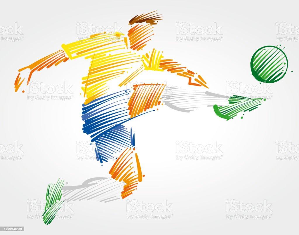 6ce3505f43358 Jugador de fútbol volando para patear la pelota ilustración de jugador de fútbol  volando para patear
