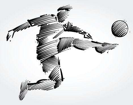 Soccer player flying to kick the ball
