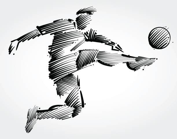 stockillustraties, clipart, cartoons en iconen met voetballer vliegt om te schoppen de bal - soccer player