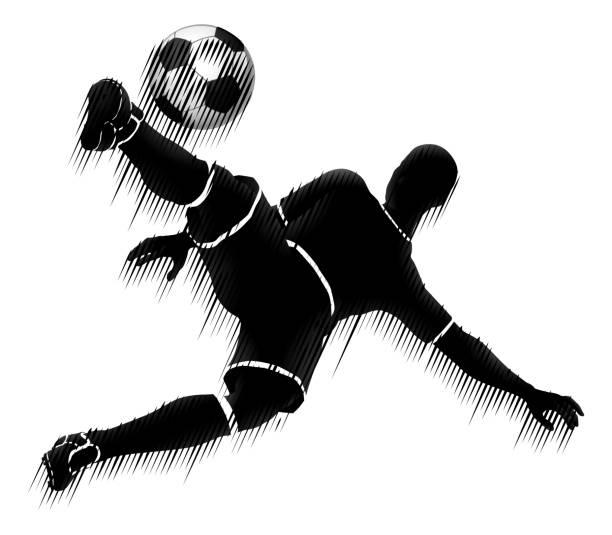 stockillustraties, clipart, cartoons en iconen met voetbal speler voetbal sport silhouet concept - soccer player