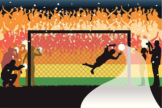 ilustrações de stock, clip art, desenhos animados e ícones de de guarda-redes de futebol - soccer supporter portrait