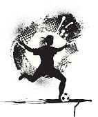 "Female Soccer Player. Graphic grunge illustration of a soccer player - female. Check out my ""Spring Sports"" light box for more."