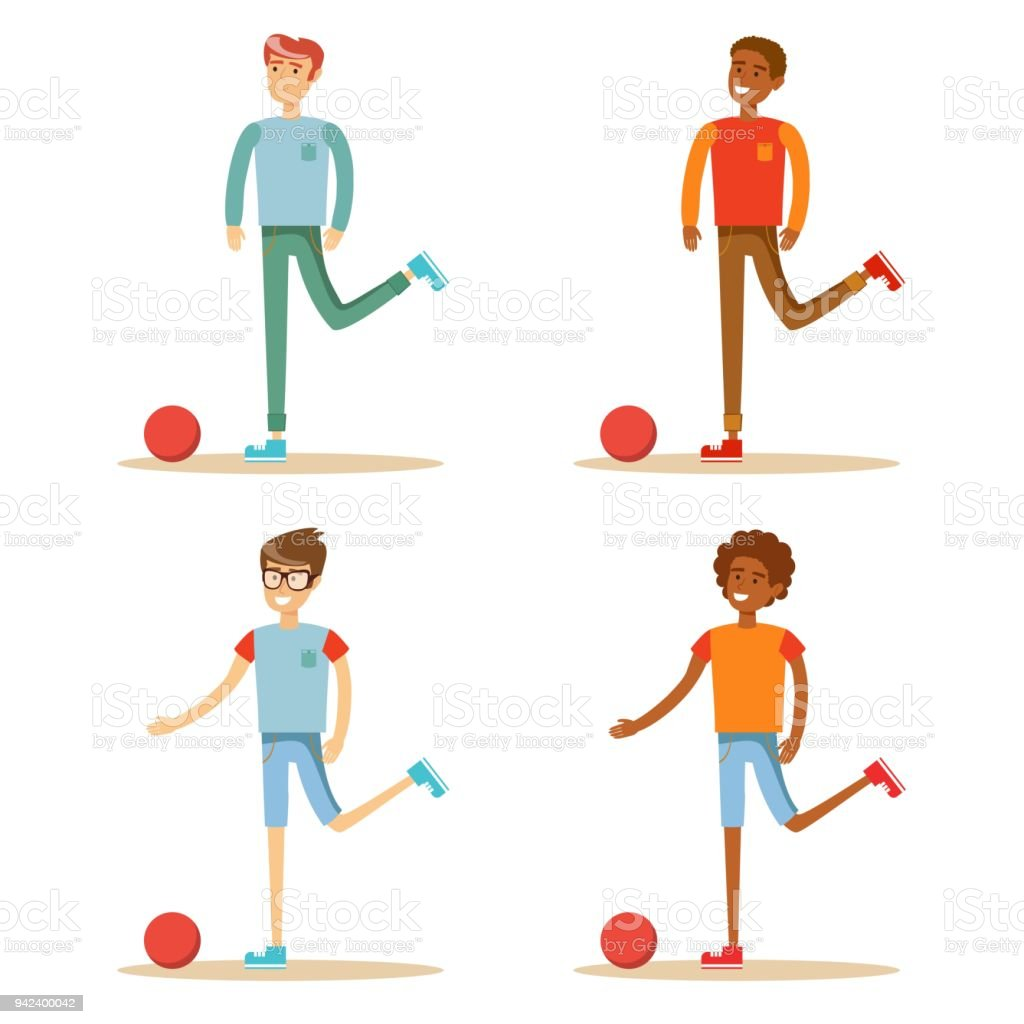 Soccer player hits the ball. Set. Vector royalty-free soccer player hits the ball set vector stock illustration - download image now