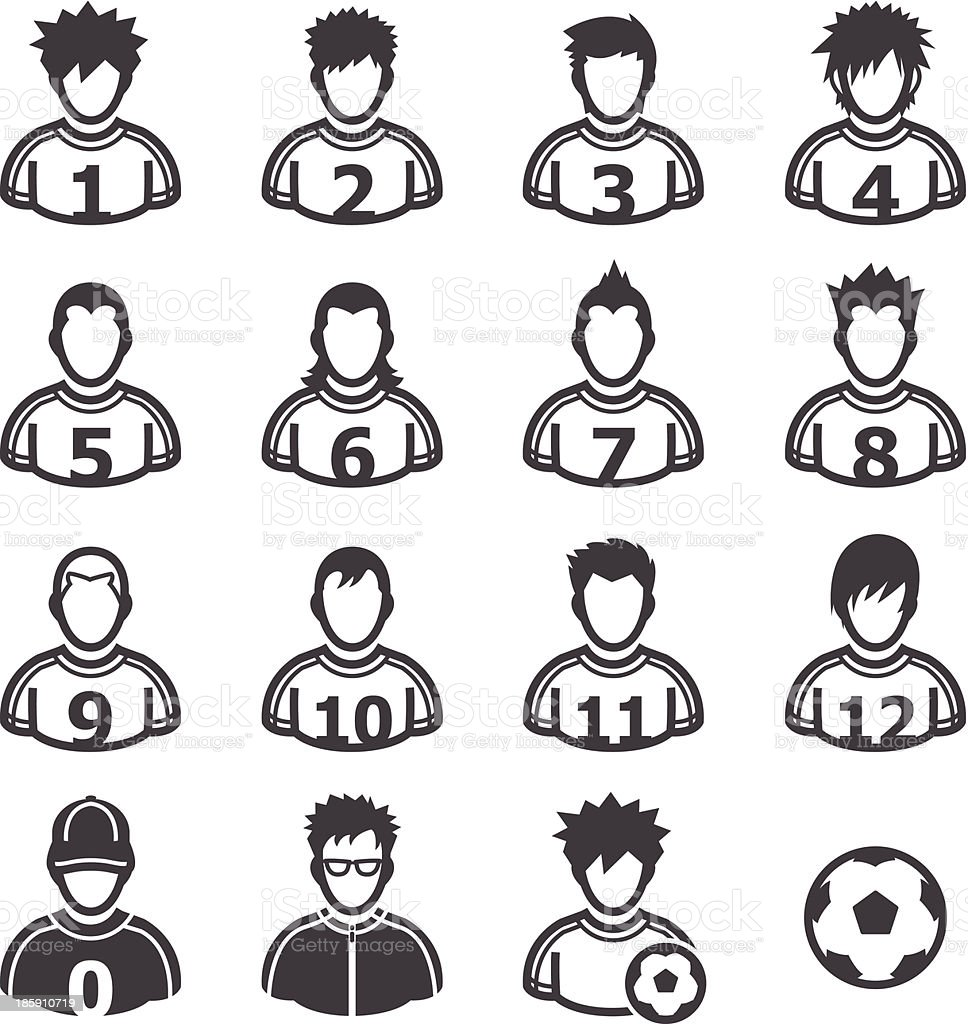 Soccer Player Icons royalty-free stock vector art
