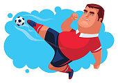 soccer player jumping and kicking ball
