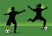 """Two graphic silhouette illustrations of female soccer players. Use with or without the background. Check out my """"Spring Sports"""" light box for more."""