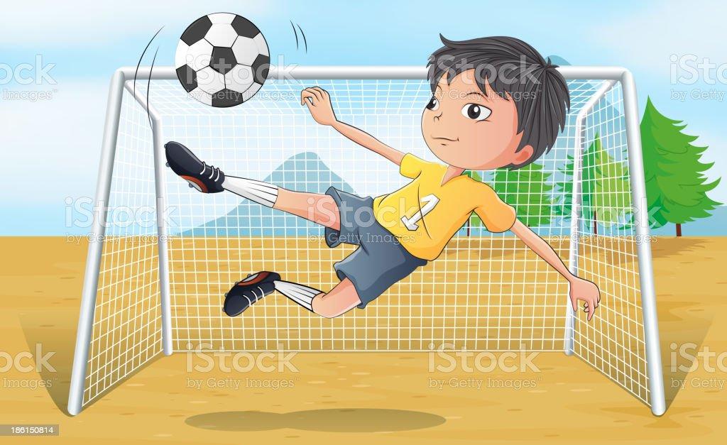 soccer player kicking a ball royalty-free stock vector art