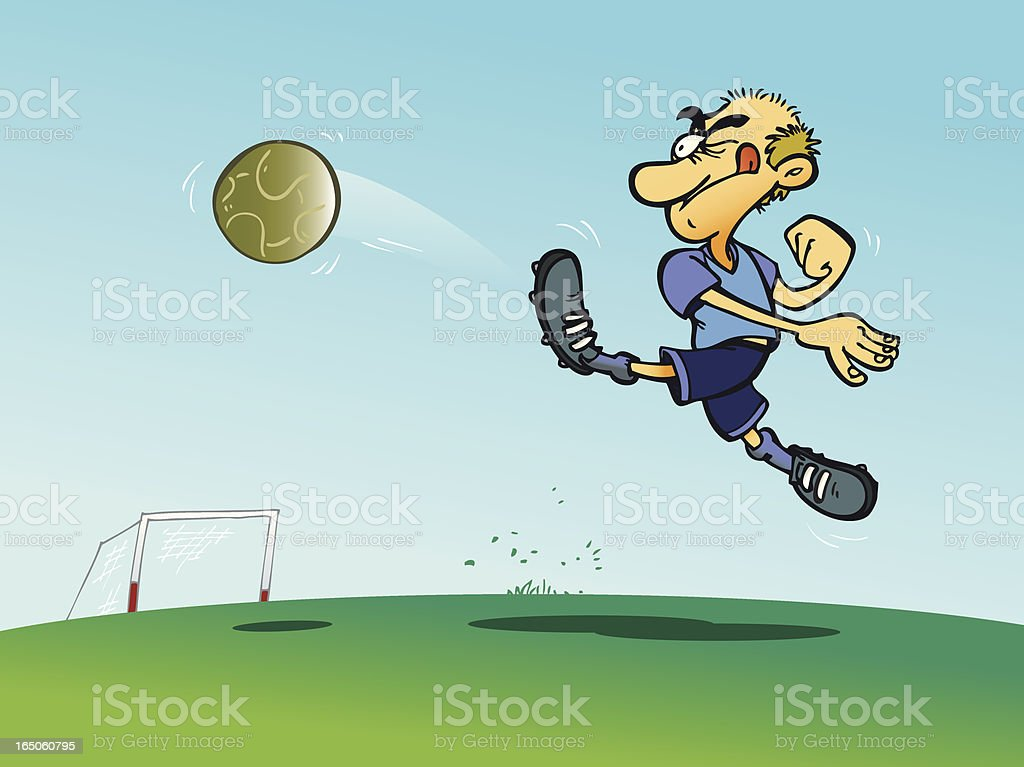 Soccer player kicking a ball with energy royalty-free stock vector art
