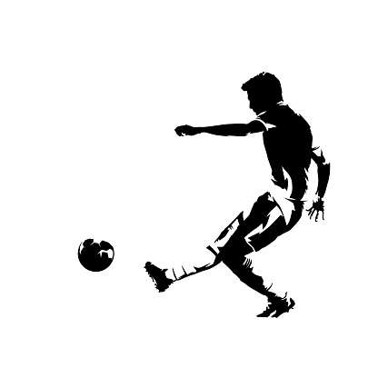 Soccer player kicking ball and scoring goal, abstract ink drawing vector silhouette. Isolated footballer, side view, comic style