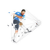 Soccer player kicking ball and scoring goal, abstract low polygonal geometric vector illustration. Isolated footballer in blue jersey