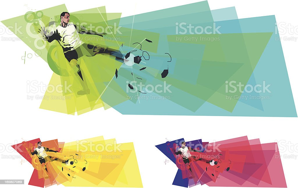 Soccer Player Kicking Ball in colours vector art illustration