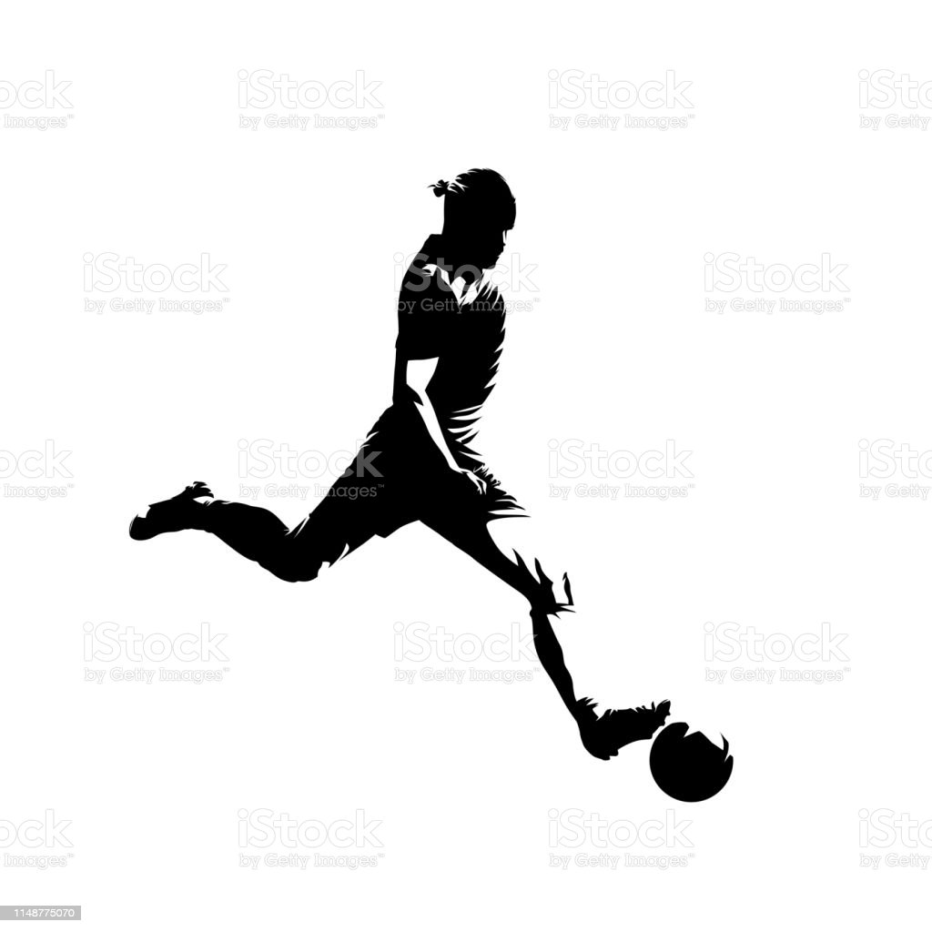 Soccer player kicking ball, isolated vector silhouette. Football,...