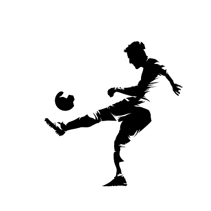 Soccer player kicking ball, isolated vector silhouette, ink drawing