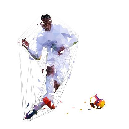 Soccer player kicking ball, low polygonal vector illustration. Football player