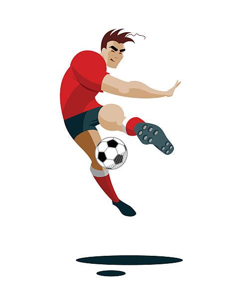 fußball spieler treten ball - fußballkunst stock-grafiken, -clipart, -cartoons und -symbole