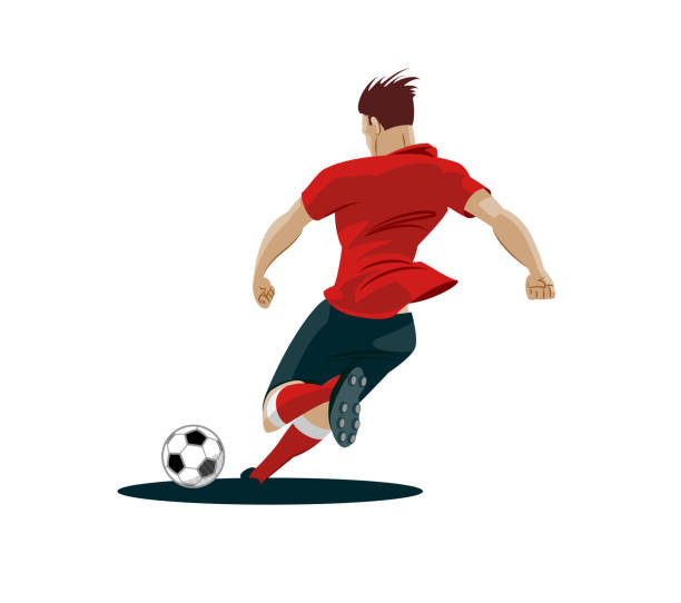 spieler treten fußball. - fußballkunst stock-grafiken, -clipart, -cartoons und -symbole