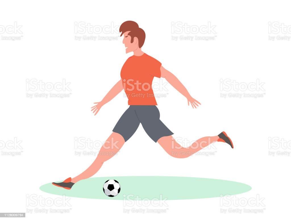Soccer player kicking the ball in stadium. Vector Illustration