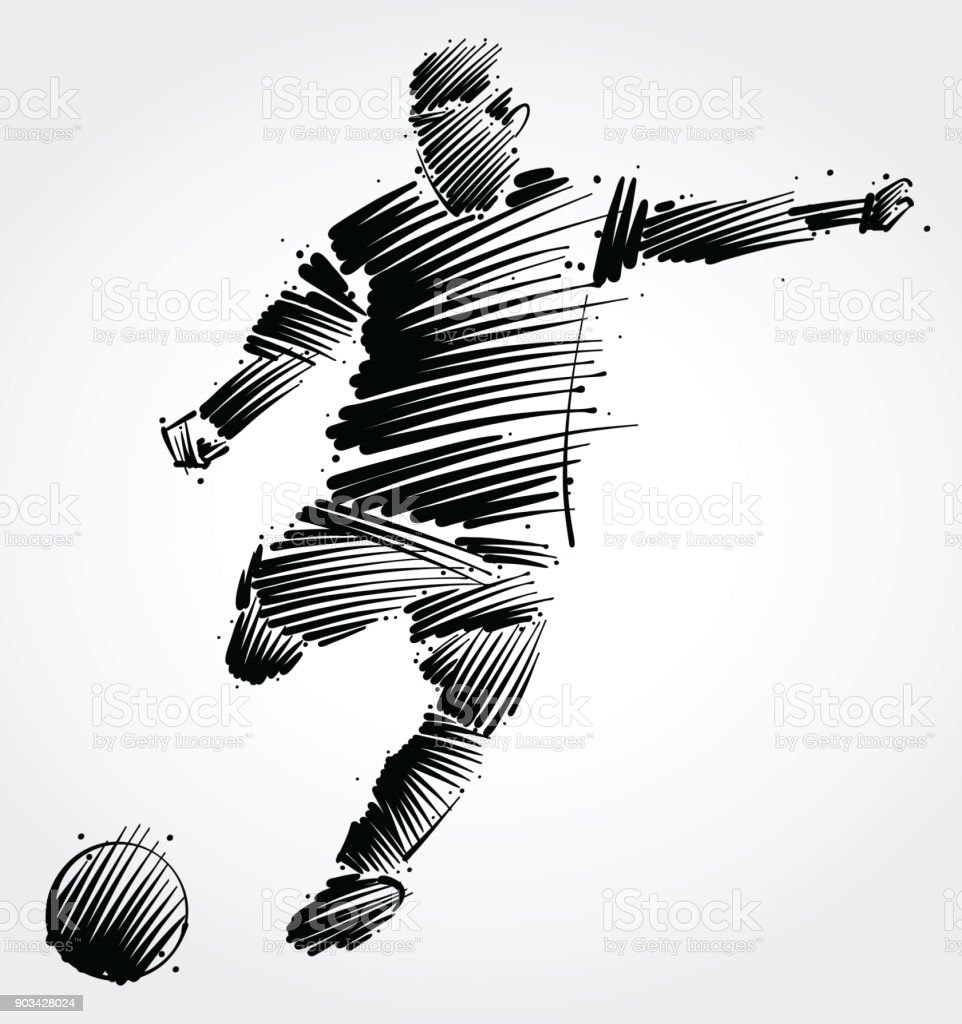 Jogador de futebol chutando a bola - ilustração de arte em vetor