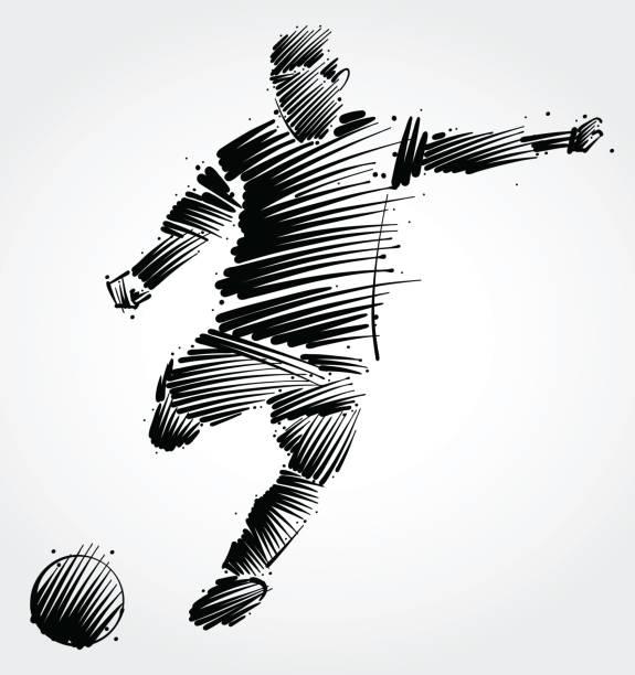 Jugador de fútbol coleando la pelota - ilustración de arte vectorial